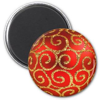 Navidad en rojo y oro imán redondo 5 cm