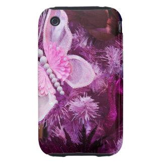Navidad en rosa y púrpura tough iPhone 3 carcasa