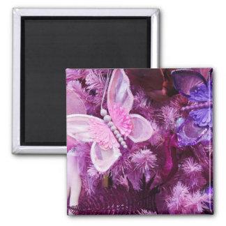 Navidad en rosa y púrpura imán cuadrado