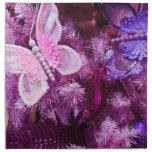 Navidad en rosa y púrpura servilleta