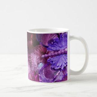Navidad en rosa y púrpura tazas de café
