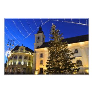 Navidad en Sibiu en la noche Fotografias