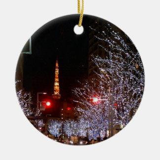 Navidad en Tokio, Japón Adorno Navideño Redondo De Cerámica