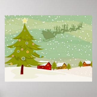 Navidad en un poster de la tierra del pueblo