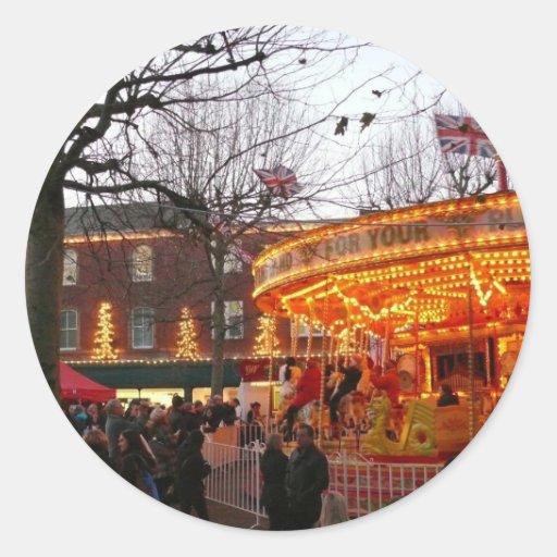 Navidad en York Pegatina Redonda