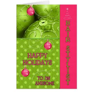 Navidad enrrollado del estilista en rosa y verde tarjeta de felicitación