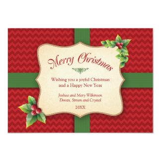 """Navidad envuelto de Chevron del regalo que saluda Invitación 4.5"""" X 6.25"""""""