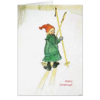Navidad Esbjorn de Carl Larsson en los esquís Tarjeta De Felicitación
