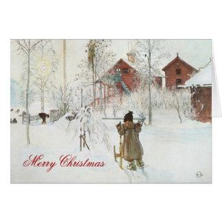Navidad escandinavo del hogar del invierno de Carl Tarjeta De Felicitación