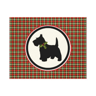 Navidad escocés de la tela escocesa del perro del lienzo envuelto para galerías