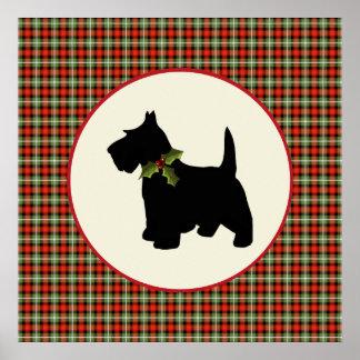 Navidad escocés de la tela escocesa del perro del  poster
