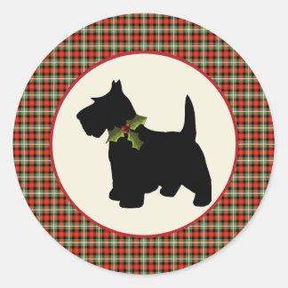 Navidad escocés de la tela escocesa del perro del  pegatina