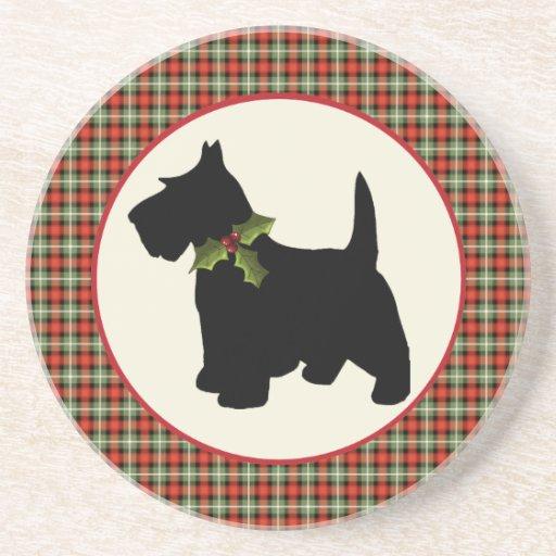 Navidad escocés de la tela escocesa del perro del posavasos cerveza