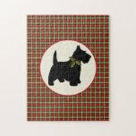 Navidad escocés de la tela escocesa del perro del  rompecabezas