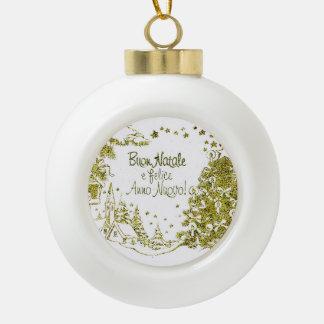 Navidad español, invierno del oro de los árboles adorno de cerámica en forma de bola