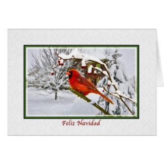 Navidad, españoles, pájaro cardinal, nieve, tarjeta de felicitación