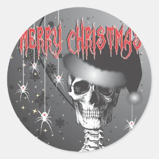 Navidad espeluznante pegatina redonda
