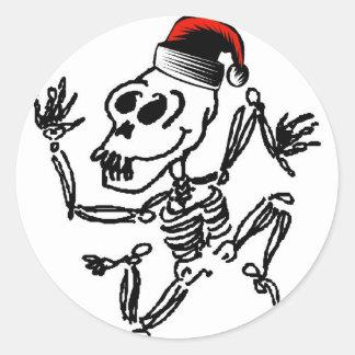 Navidad esquelético etiquetas redondas