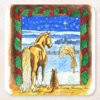 Navidad estable posavasos de cartón cuadrado