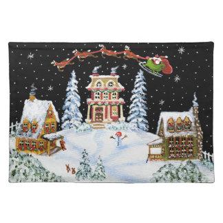 Navidad, estera de lugar, Santa, Claus, conejos, m Manteles