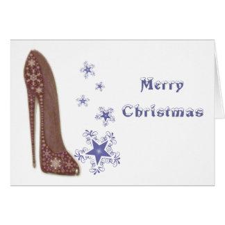 Navidad estilete y regalos de los copos de nieve tarjeta de felicitación