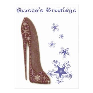 Navidad estilete y regalos de los copos de nieve tarjeta postal