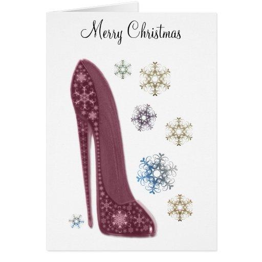 Navidad estilete y regalos del arte de los copos tarjeta de felicitación