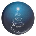 Navidad estrella y copos de nieve platos de comidas