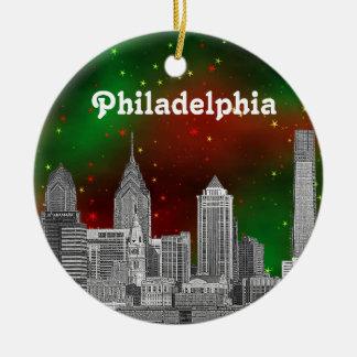 Navidad estrellada roja del cielo del verde del adorno redondo de cerámica