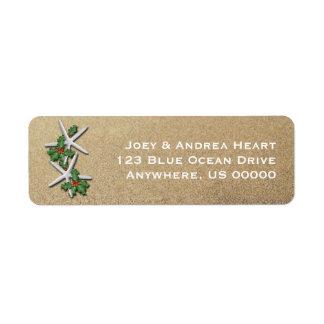 Navidad estrellas de mar y etiqueta de dirección
