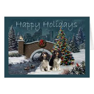 Navidad Evening2 G del perro de aguas de rey Tarjeta De Felicitación