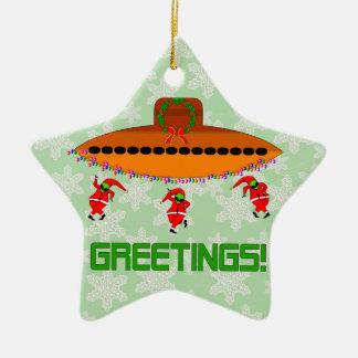 Navidad extranjero adorno de cerámica en forma de estrella