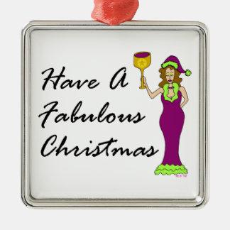 Navidad fabuloso de la diva del vino adorno cuadrado plateado