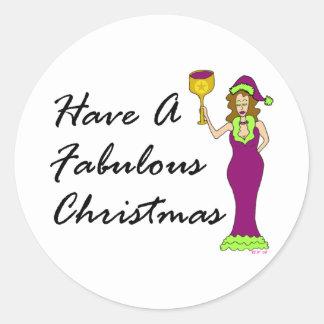 Navidad fabuloso de la diva del vino pegatina redonda
