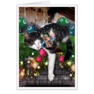 Navidad Faery y gato Tarjeta De Felicitación