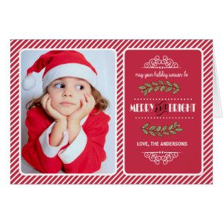 Navidad Felices y brillantes a usted. Tarjeta de