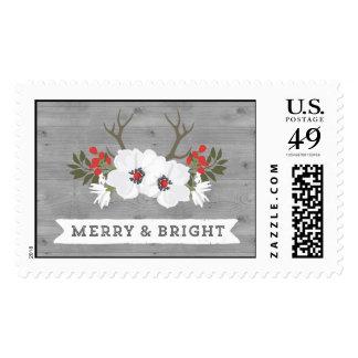 Navidad Felices y brillantes de la asta floral de Timbre Postal