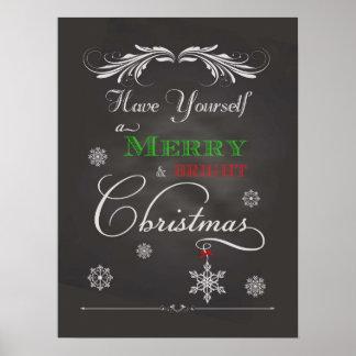 Navidad Felices y brillantes de la pizarra - Póster