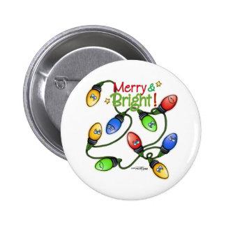 Navidad Felices y brillantes Pin Redondo De 2 Pulgadas