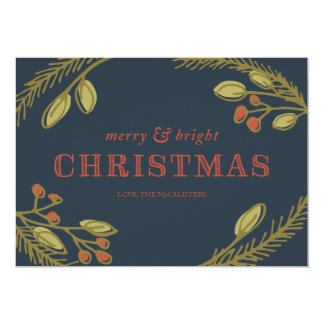 """Navidad Felices y brillantes que saludan Invitación 5"""" X 7"""""""
