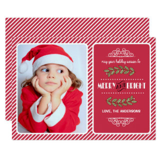 """Navidad Felices y brillantes. Tarjetas de encargo Invitación 5"""" X 7"""""""