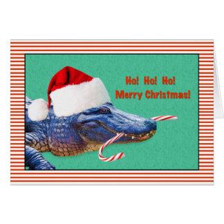 Navidad, feliz, cocodrilo con el gorra de Santa Tarjeta De Felicitación