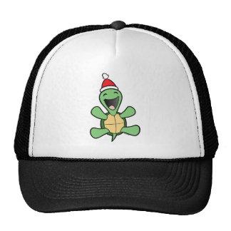 Navidad feliz de la tortuga gorros bordados