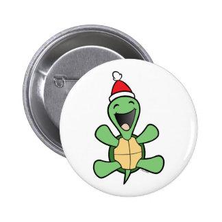 Navidad feliz de la tortuga pin redondo de 2 pulgadas