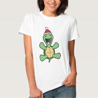 Navidad feliz de la tortuga remera