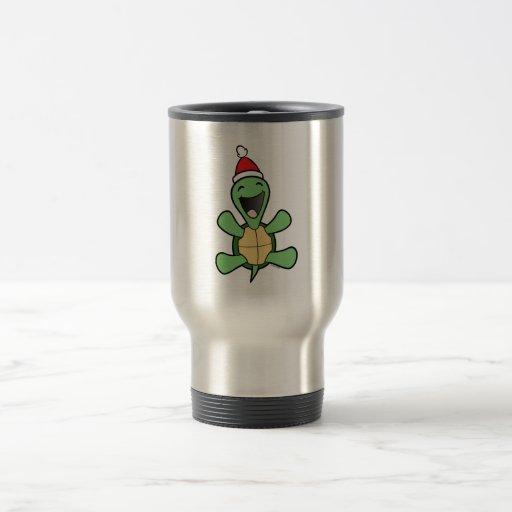 Navidad feliz de la tortuga taza térmica