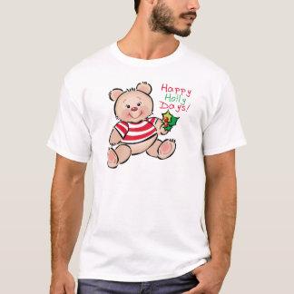 Navidad feliz de los días del acebo del oso playera