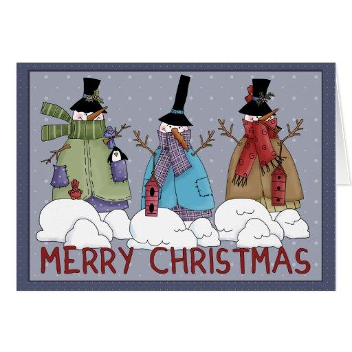 Navidad feliz de los muñecos de nieve tarjeta de felicitación