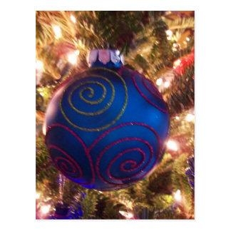 Navidad feliz del día de fiesta del ornamento azul tarjetas postales