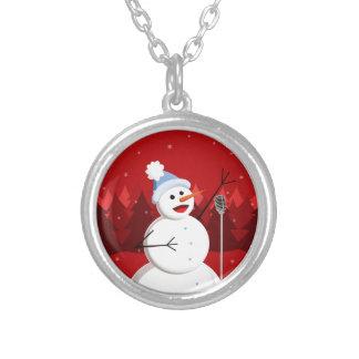 Navidad feliz del muñeco de nieve del canto collar plateado